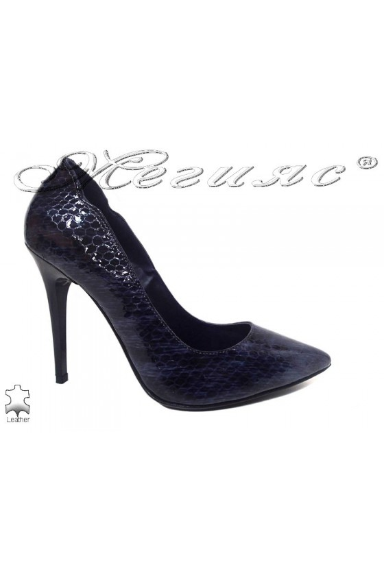Lady shoes 208 blue leather