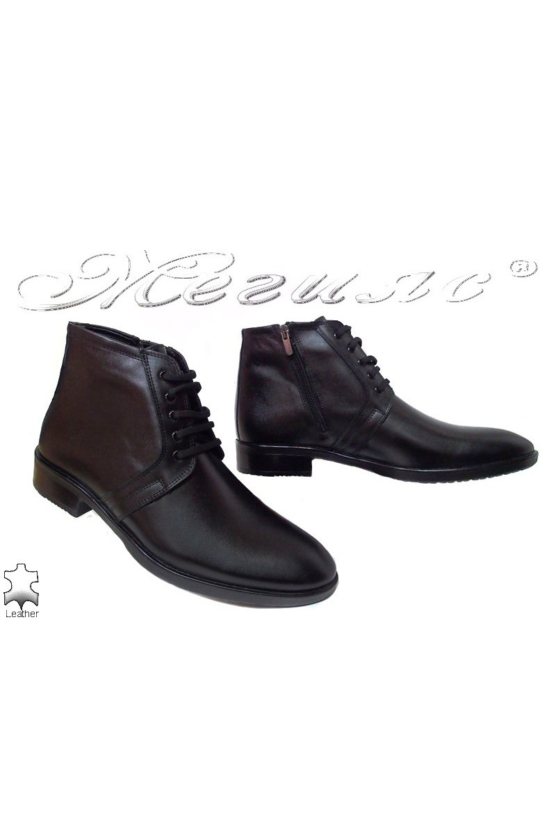 Men's boots 9624 black leather