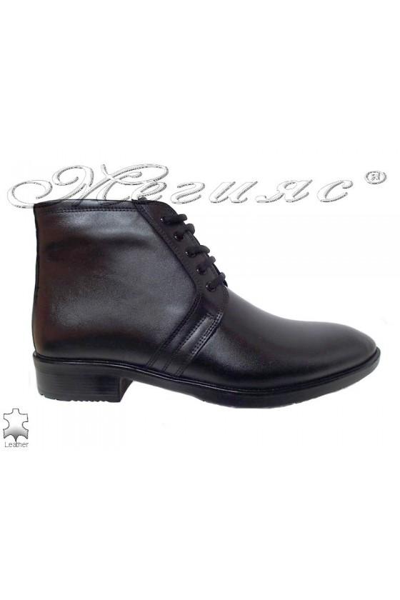 Men's boots 9624 black leather