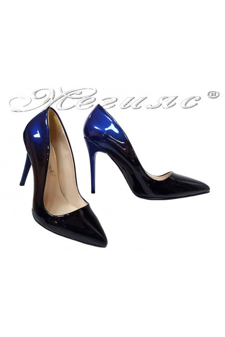 Women elegant shoes 5596 dark blue patent