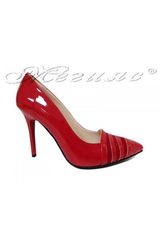 Дамски елегантни обувки 01515 червен лак