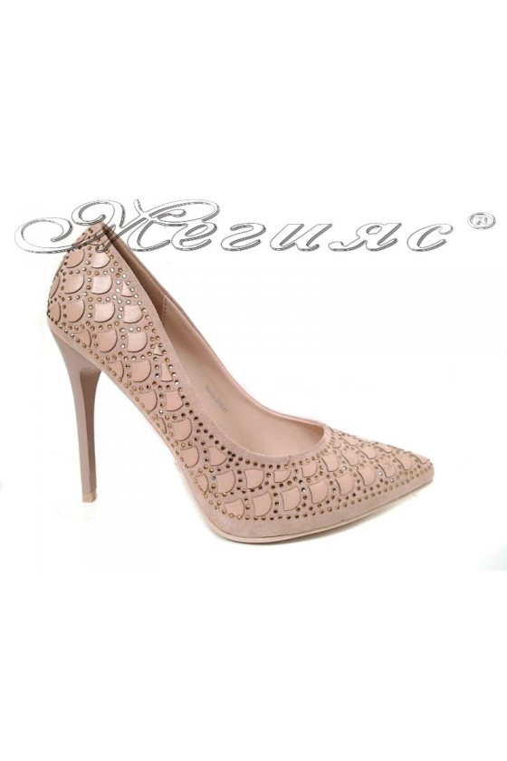 Дамски елегантни обувки WENDY 2016-01 в цвят беж остри на висок ток