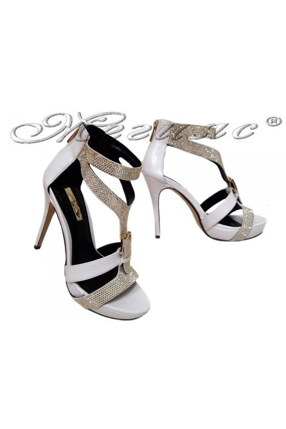 Дамски сандали JENIFFER 20S16-238 бели на висок ток
