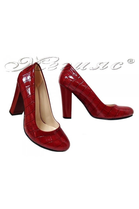 Women elegant shoes 1330 high heel red patent
