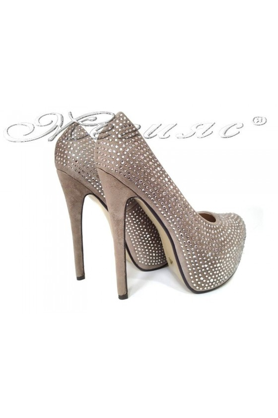 Дамски елегантни обувки  JESS 20S16-250 бежави на висок ток