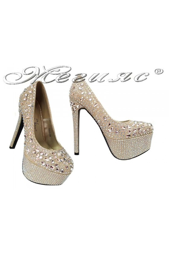 Women elegant shoes 15-204 high heel stones shining