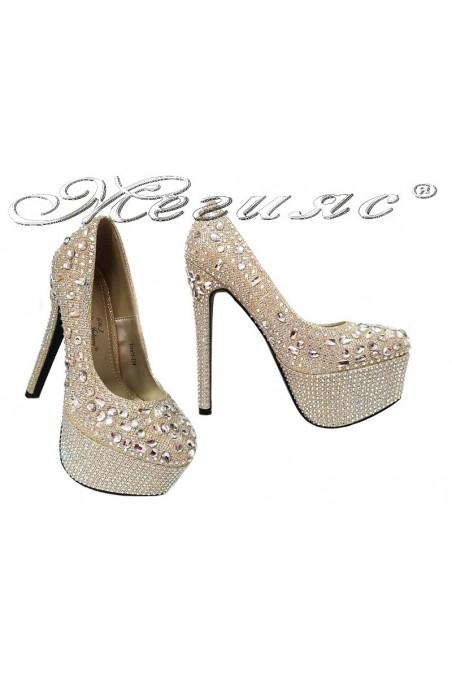 Дамски обувки TINA 15-204 златисти елегантни висок ток платформа камъни блестящи