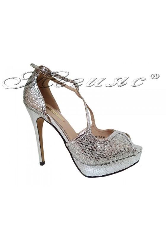 Дамски сандали сребристи на висок ток JENIFFER 20S16-239