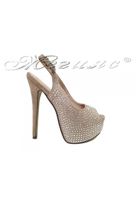 Дамски обувки Jess 20S16-252 в цвят беж на висок ток