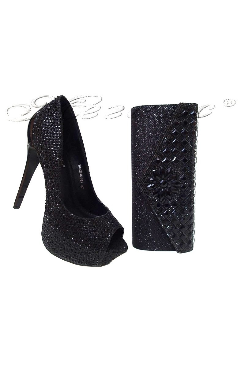 Lady shoes 2016-103 and bag 15253 XY black
