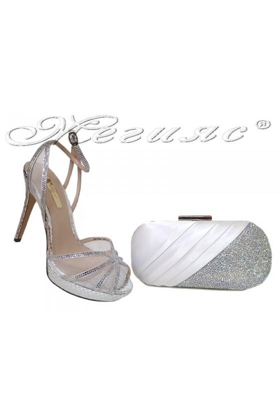 Комплект обувки 20S16-234 с чанта 241 сребристи