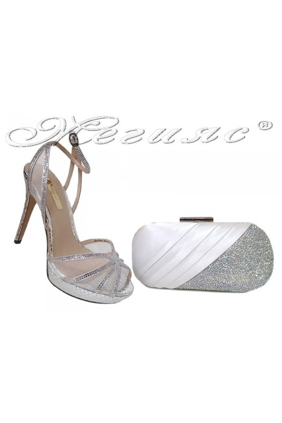 Lady shoes 2016-234 and bag 241 silver