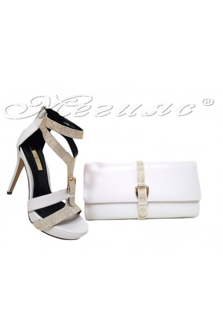 Lady shoes 2016-238 and bag 238 white
