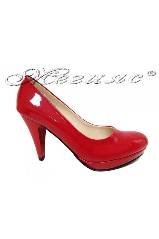 Ladies elegant shoes 520 red patent high heel