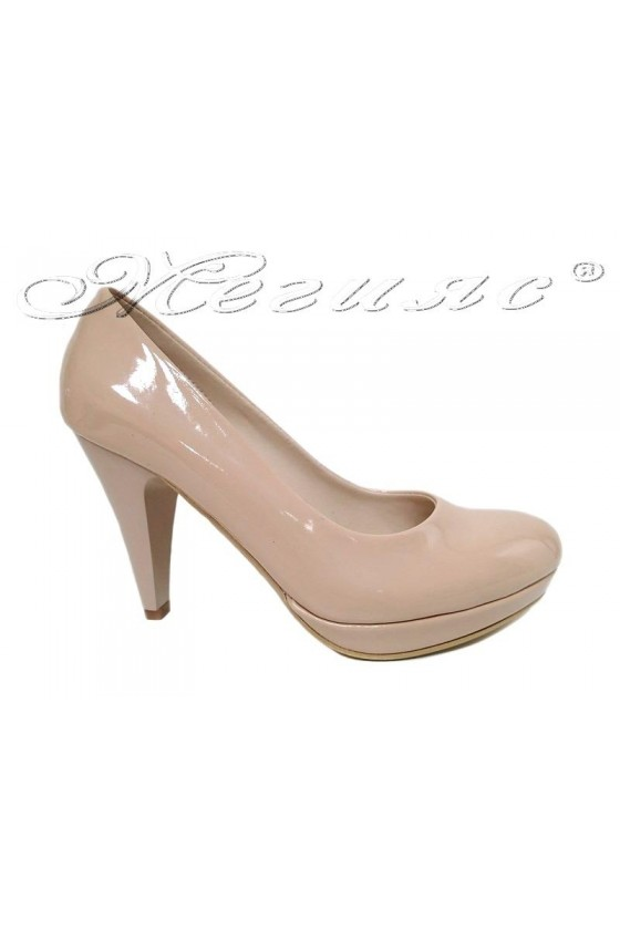 Ladies  elegant shoes 520 beige patent high heel