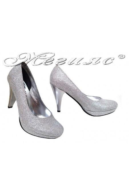 Ladies elegant shoes 520 silver high heel