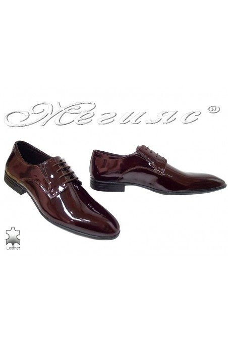 Men elegant shoes 16004 wine leather