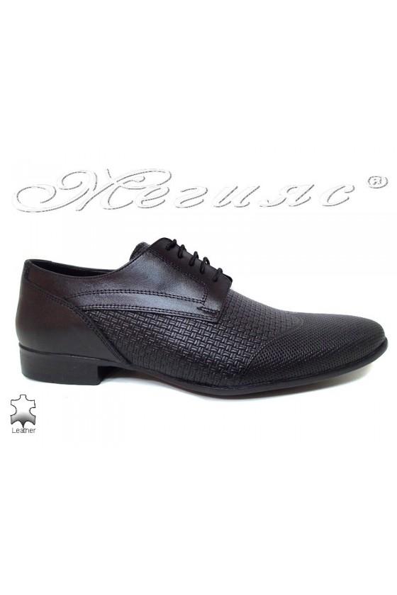Men elegant shoes 16032 black leather