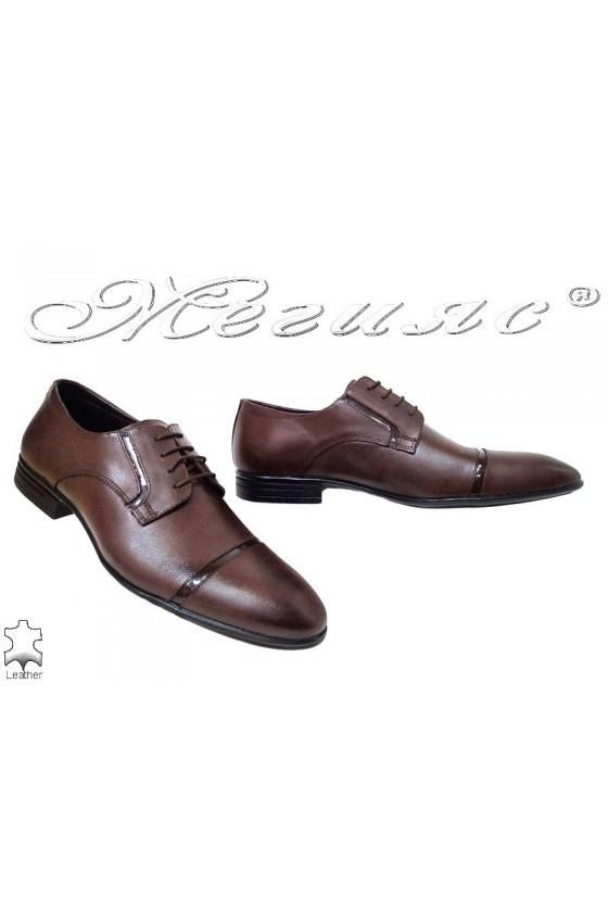 Мъжки обувки  кафяви  от естествена кожа елегантни