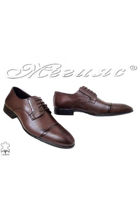 Мъжки обувки Фантазия 16009 кафяви  от естествена кожа елегантни