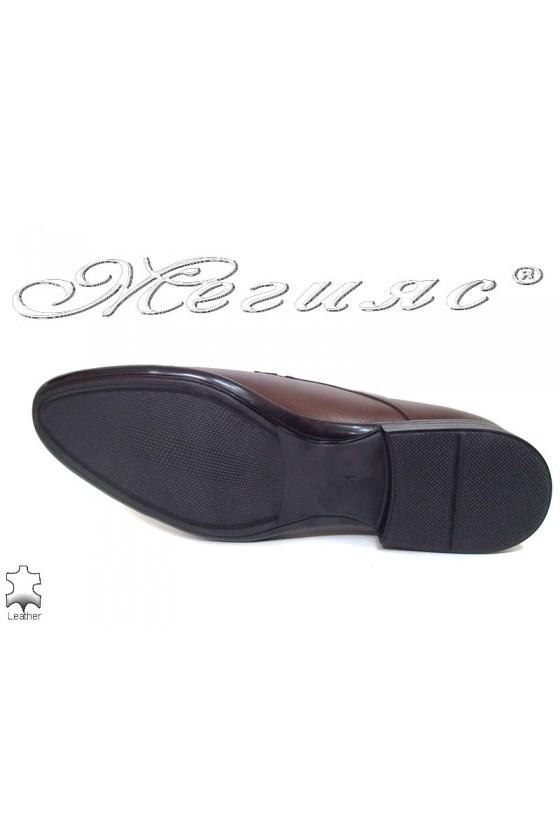 Мъжки обувки кафяви  от естествена кожа елегантни Фантазия 16009