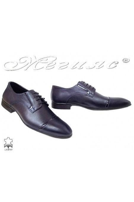 Men elegant shoes 16009 dark blue leather