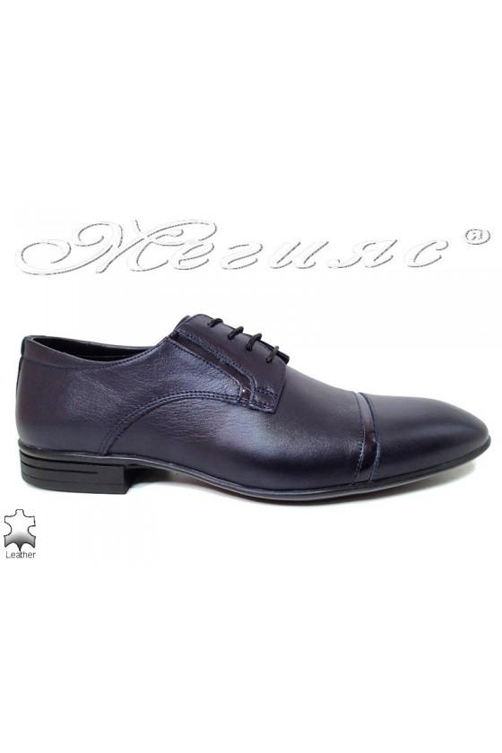 Мъжки обувки сини от естествена кожа елегантни Фантазия 16009
