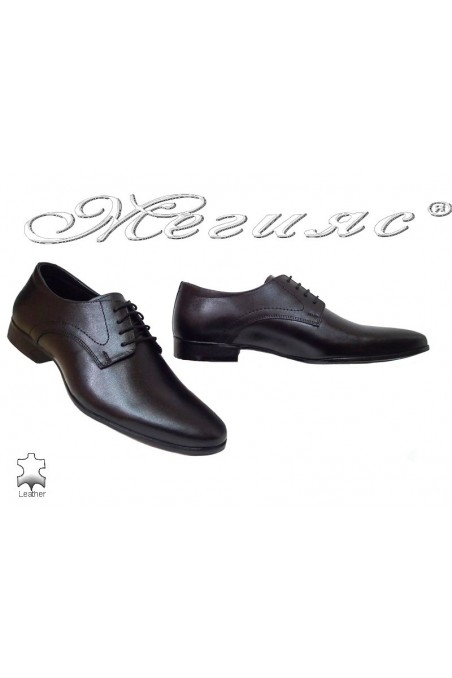 Men elegant shoes 16031 black leather