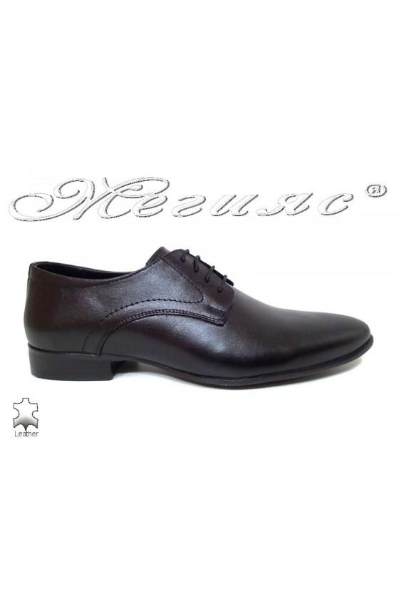 Men elegant shoes 16031 black leather