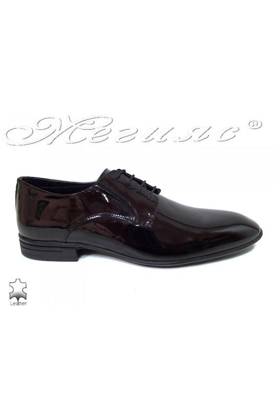 Мъжки елегантни обувки черни естествен лак Фантазия 16004