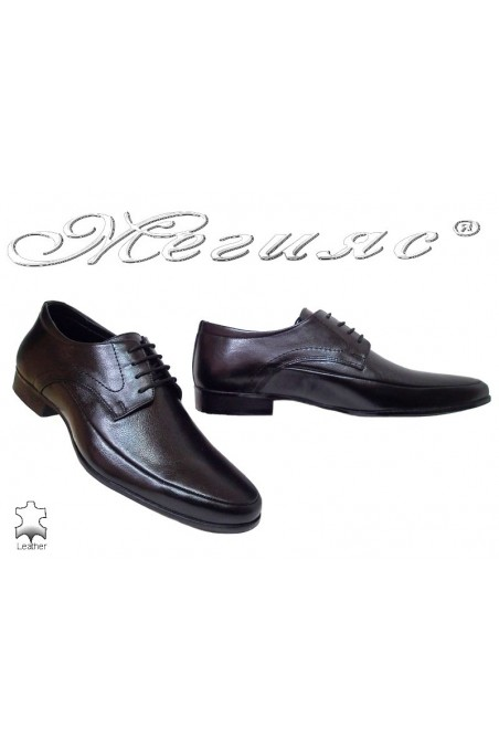 Men elegant shoes 16030 black leather