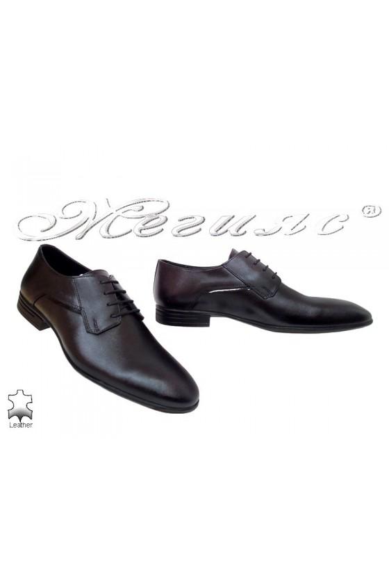 Men elegant shoes 16014 black leather
