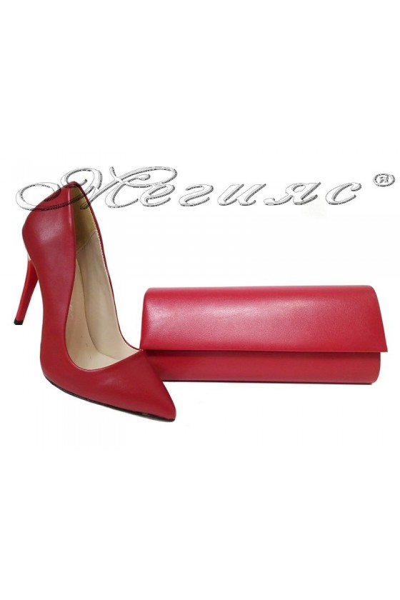 lady shoes 5596 and bag 373 red