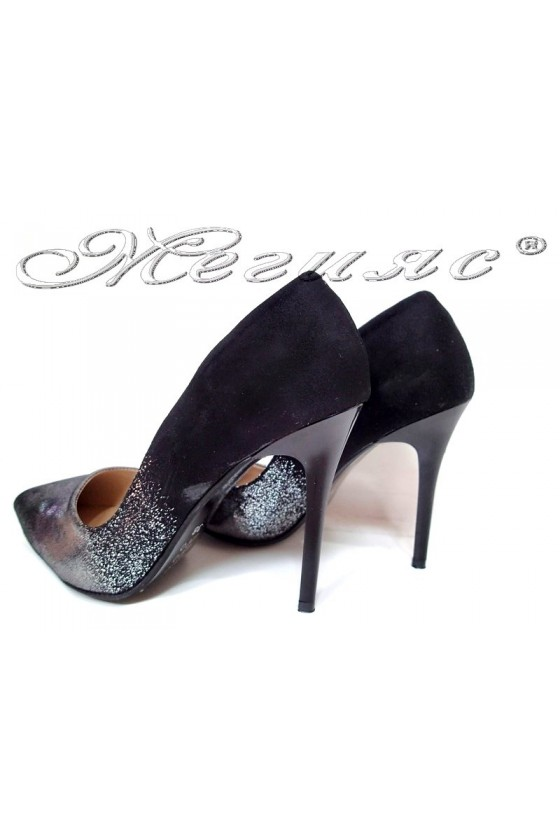 Lady elegant  shoes 1800 black with silver high heel