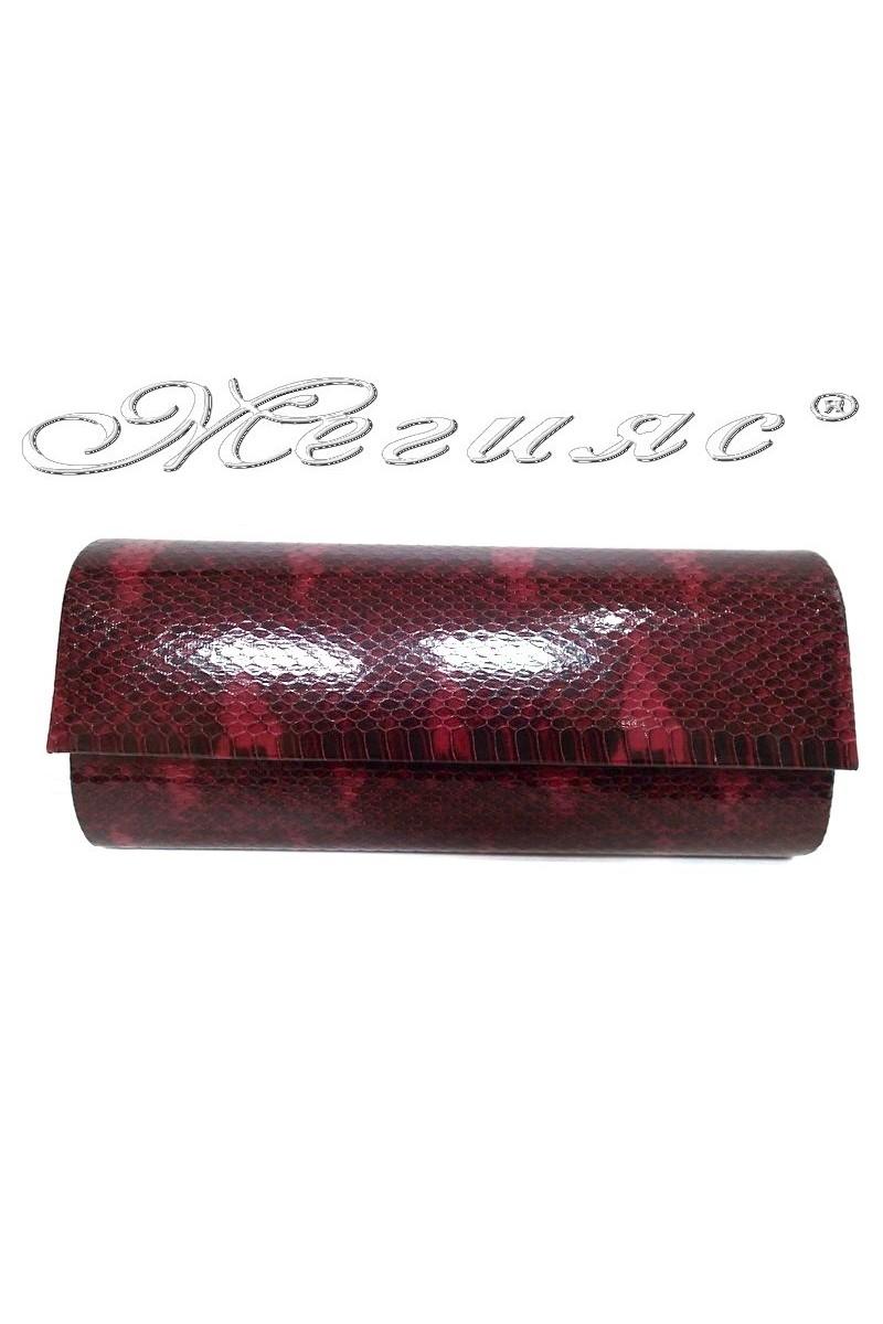 Дамска чанта 373 бордо с червено змия от еко кожа