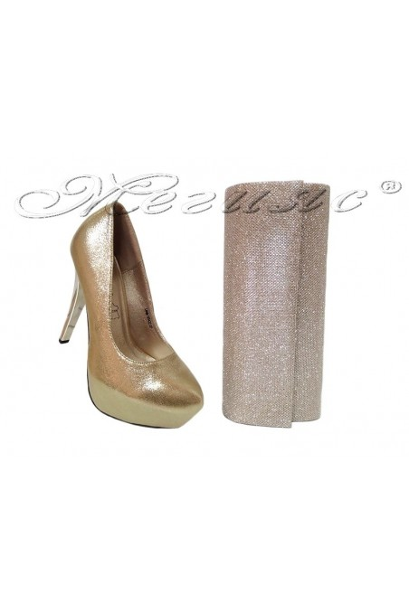 lady shoes 155422 and bag 373 gold