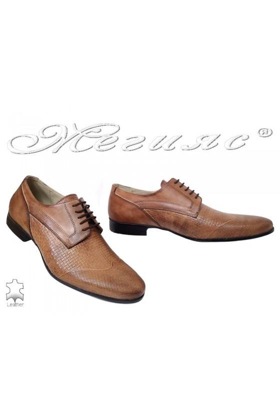 Мъжки елегантни обувки Фантазия 16032 антик естествена кожа