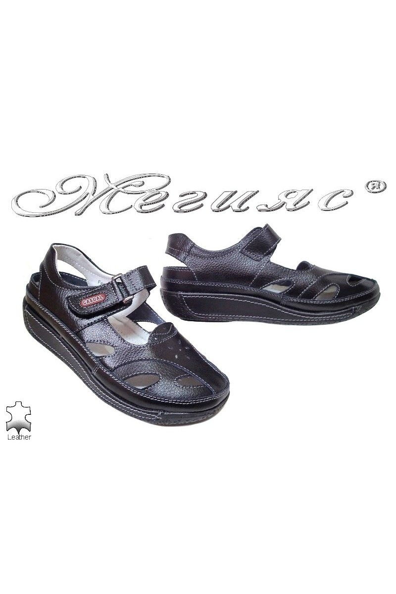 Lady shoes 2016-151 black leather