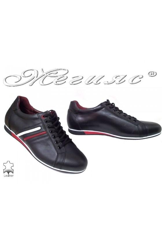 Мъжки обувки 2113 черно кожа спортни от естествена кожа