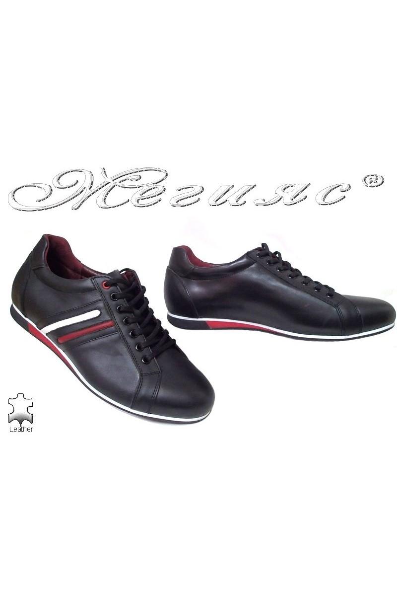 Мъжки обувки 2113 черно кожа с лак спортни от естествена кожа