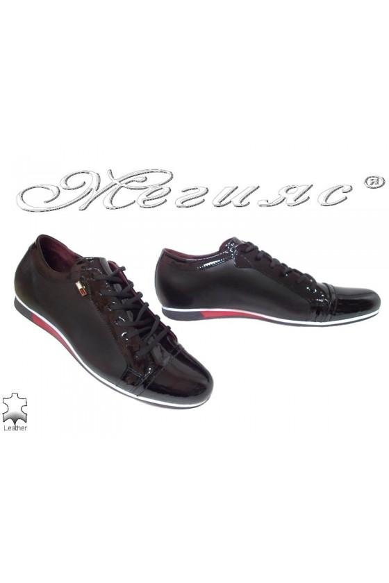 Мъжки обувки 2098-нови черно с червено спортни от естествена кожа