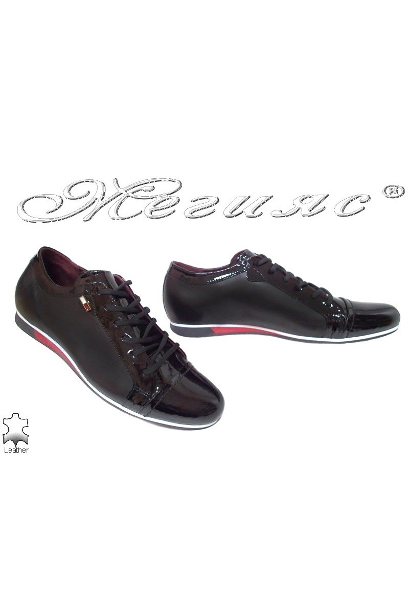 Men sport shoes 2098 black with red leather