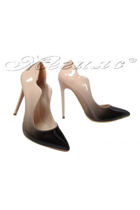 Lady elegant shoes 1019 beige with black patent