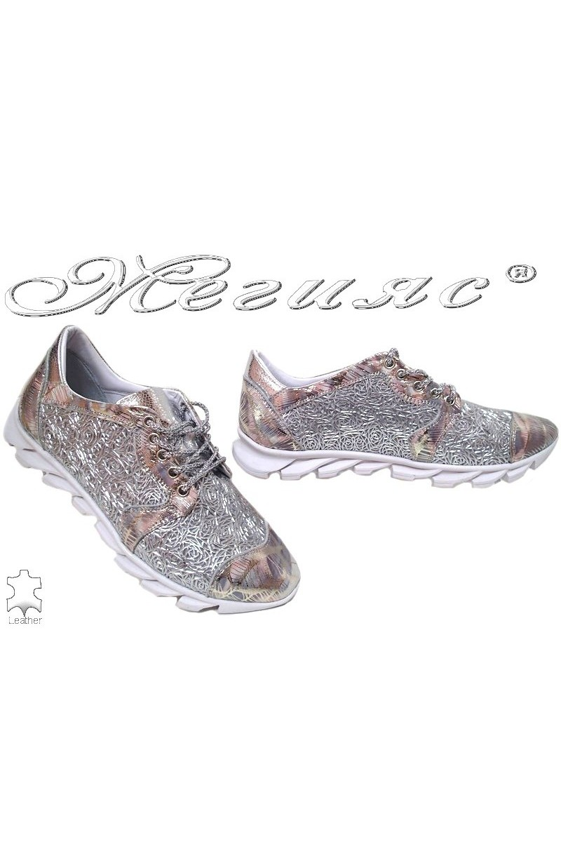 Lady shoes 823 silver leather