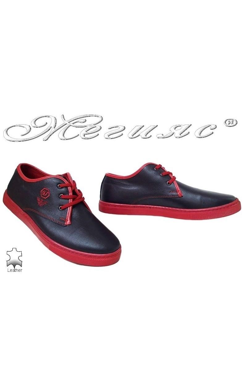 Мъжки обувки 208 тъмно сини с червено спортни от естетсвена кожа
