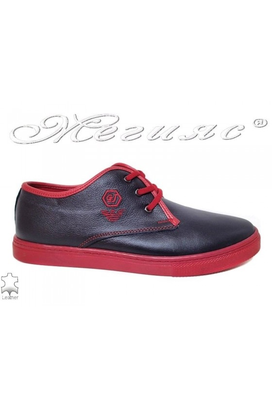 Men sport shoes 208 blue with red leather