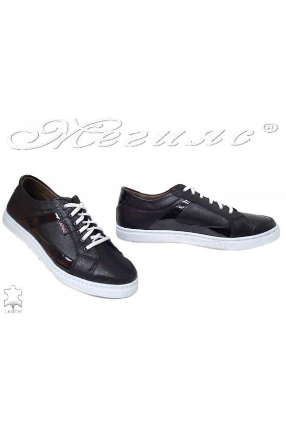 Мъжки обувки 905 черни спортни от естествена кожа