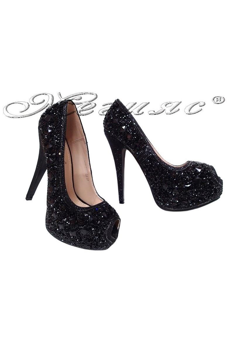 Дамски обувки LINDA 2016-359 черни с камъни елегантни с висок ток и платформа