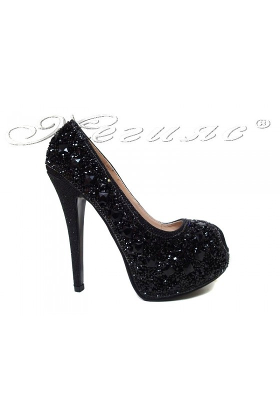 Women elegant shoes 20S16-359 black with high heel