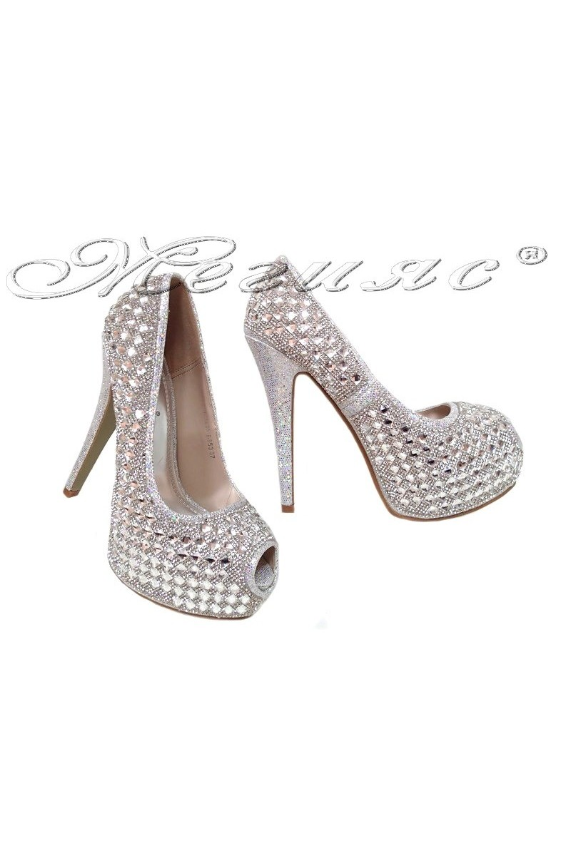 Дамски обувки LINDA 2016-353 сребърни с камъни елегантни с висок ток и платформа